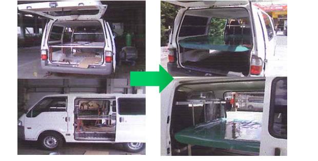 架装事例:三菱デリカ3人乗りバンにお弁当配送用2段ラック製作取付