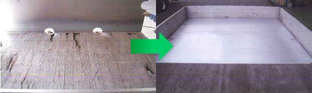 施工事例:大型平ボディトラック 荷台床鉄板加工